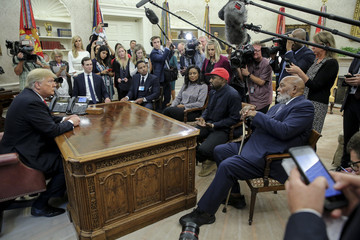 Kanye West Trump Hosts Kanye West And Former Football Player Jim Brown At The White House