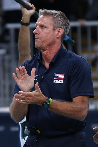 Karch Kiraly The United States assistant coach Karch Kiraly celebrates winning the Women's Volleyball Preliminary match between the United States and Brazil on Day 3 of the London 2012 Olympic Games at Earls Court on July 30, 2012 in London, England.