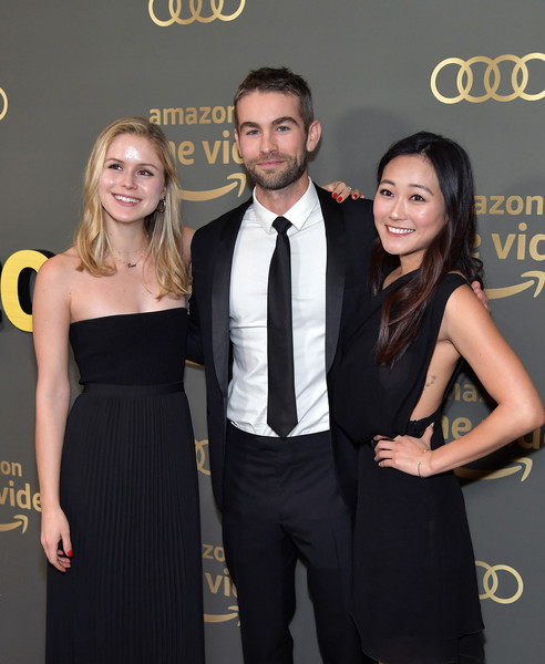 Amazon Prime Video's Golden Globe Awards After Party - Arrivals [amazon prime video,dress,little black dress,yellow,fashion,event,formal wear,suit,premiere,tuxedo,cocktail dress,karen fukuhara,chace crawford,erin moriarty,golden globe awards,l-r,the beverly hilton hotel,beverly hills,arrivals,party]