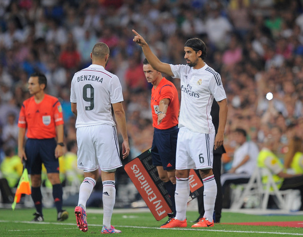 Real Madrid CF v Cordoba CF [player,sports,team sport,ball game,sport venue,football player,soccer player,soccer,product,sports equipment,sami khedira,karim benzema,madrid,spain,estadio santiago bernabeu,real madrid cf,cordoba cf,la liga,match]