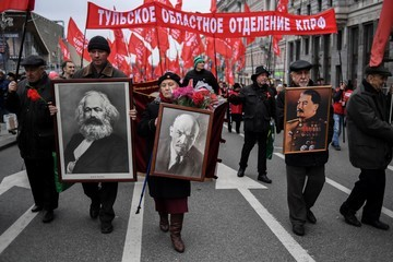 Karl Marx Rally Marking the 100th anniversary of the 1917 Bolshevik Revolution in Moscow