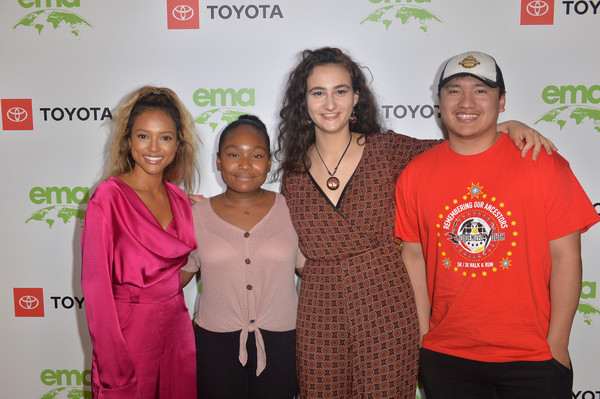EMA IMPACT Summit - Day One [day one,red,youth,community,event,award,karrueche tran,jamie margolin,kendrick eagle,genesis butler,l-r,beverly hills,california,ema impact summit,ema impact summit day one]