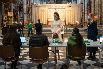 Kate Middleton Duke And Duchess Of Cambridge Visit Westminster Abbey Vaccination Centre