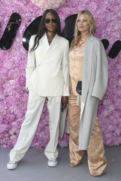 Dior Homme : Outside Arrivals - Paris Fashion Week - Menswear Spring/Summer 2019 [pink,purple,fashion,fashion model,suit,costume,haute couture,formal wear,product,fashion design,dior homme,outside arrivals,kate moss,naomi campbell,spring,l-r,summer 2019,paris fashion week,show,dior homme menswear spring]