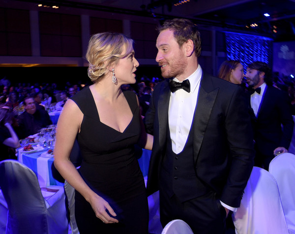 27th Annual Palm Springs International Film Festival Film Festival Awards Gala - Ballroom [event,formal wear,cobalt blue,fashion,suit,interaction,ceremony,dress,performance,tuxedo,actors,michael fassbender,kate winslet,palm springs international film festival film festival awards gala - ballroom,palm springs convention center,california,l,palm springs international film festival film festival awards gala]