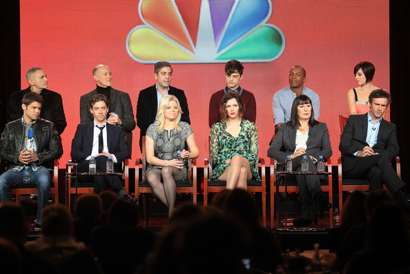 2013 Winter TCA Tour - Day 3 [winter tca,bottom l-r,top l-r,event,youth,community,performance,adaptation,convention,media,stage,team,actors,executive producers,craig zadan,joshua safran,neil meron,christian borle,megan hilty]