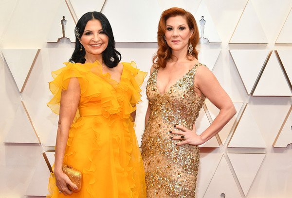 92nd Annual Academy Awards - Arrivals [yellow,clothing,fashion model,dress,fashion,orange,fashion design,cocktail dress,event,gown,arrivals,stephanie kurtzuba,kathrine narducci,l-r,hollywood,california,highland,92nd annual academy awards,kathrine narducci,stephanie kurtzuba,stock photography,photography,image,hollywood,photograph,getty images]