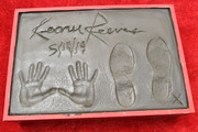 Cement with Keanu Reeves' handprints is seen during a ceremony in his honor at the TCL Chinese Theatre IMAX forecourt on May 14, 2019 in Hollywood, California.