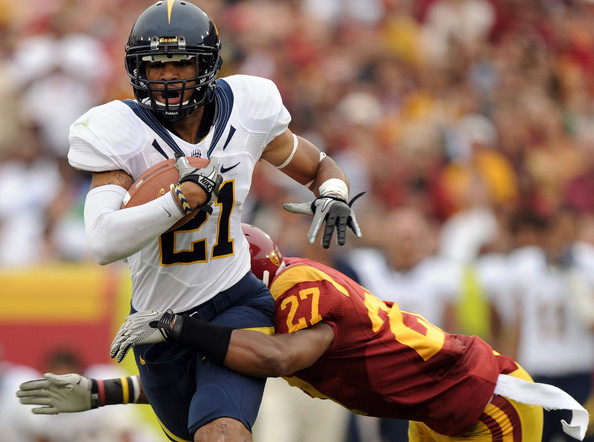 Keenan Allen Keenan Allen #21 of the California Golden <a class='sbn-auto-link' href='http://www.sbnation.com/nfl/teams/chicago-bears'>Bears</a> is tackled by Marshall Jones #27 of the USC Trojans during the second quarter at Los Angeles Memorial Coliseum on October 16, 2010 in Los Angeles, California.