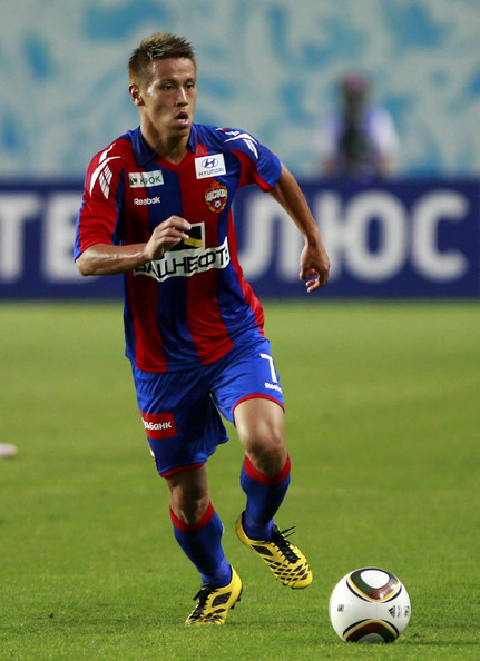 Keisuke Honda Keisuke Honda of PFC CSKA Moscow in action during the Russian Football League Championship match between PFC CSKA Moscow and FC Anzhi Makhachkala at the Khimki Stadium on August 15, 2010 in Khimki, Russia.