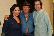 GM Ryman Auditorium Sally Williams, Billy Joe Shaver, and Brad Bissell CAA backstage during Keith Urban's Fourth annual We're All For The Hall benefit concert at Bridgestone Arena on April 16, 2013 in Nashville, Tennessee.