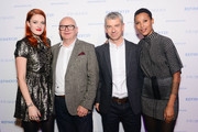 (L-R) Caroline Hjelt, Singer for Icona Pop, Paul Marchant, CEO of Primark, John Lyttle, Director of Buying and Merchandising for Primark and Aino Jawo singer of Icona Pop attend at The Keke Palmer & Refinery29 Host Club Primania Event at Skybox Event Center on November 19, 2015 in Philadelphia, Pennsylvania.