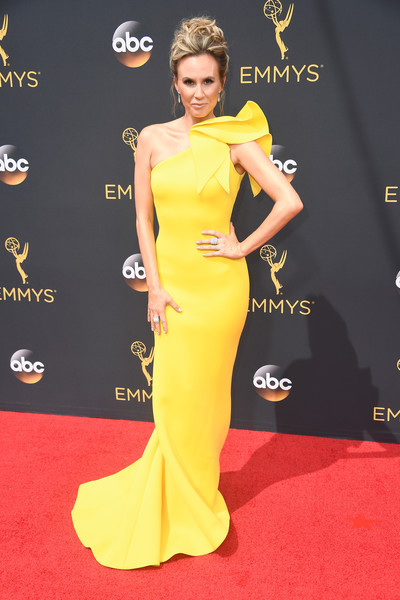 68th Annual Primetime Emmy Awards - Arrivals [yellow,flooring,carpet,gown,fashion model,shoulder,dress,red carpet,joint,fashion,dress,keltie knight,television presenter,primetime emmy awards,carpet,television,celebrity,flooring,gown,los angeles,keltie knight,68th primetime emmy awards,69th primetime emmy awards,primetime emmy award,emmy award,red carpet,television presenter,dress,celebrity,television]