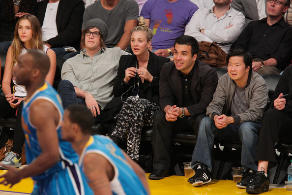 Celebrities At The Lakers Game [event,competition event,basketball,championship,sports,coach,tournament,game,game,los angeles lakers,l,2r,celebrities,christopher french,kaley cuoco,r,ken jeong]