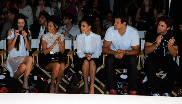 Kendall Jenner (L-R) Kendall Jenner, Kourtney Kardashian, Kim Kardashian, Kris Humphries, and Brody Jenner attend the Abbey Dawn by Avril Lavigne Spring 2012 fashion show during Style360 at the Metropolitan Pavilion on September 12, 2011 in New York City.