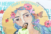 Proactive Brand Ambassador Kendall Jenner stops by the #PaintPositivity #BecauseWordsMatter mural in Williamsburg on June 20, 2019 in Brooklyn, New York.