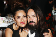 Salma Hayek and Alessandro Michele attend the Kering Official Cannes Dinner at Place de la Castre on May 17, 2015 in Cannes, France.