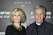Jane Fonda and Costa Gavras attend Kering Women In Motion Master Class With Jane Fonda at la cinematheque on October 22, 2018 in Paris, France.