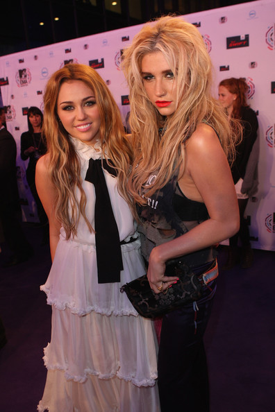 Kesha Miley Cyrus and Ke$ha attend the MTV Europe Awards 2010 at the La Caja Magica on November 7, 2010 in Madrid, Spain.