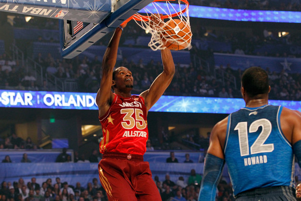 2012 NBA All-Star Game [photograph,basketball moves,sports,basketball player,team sport,ball game,basketball court,player,basketball,fan,sport venue,kevin durant,user,dwight howard,half,western conference,oklahoma city thunder,eastern conference,nba all-star game,dunks]