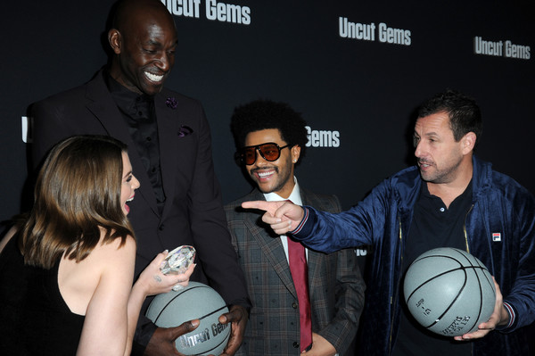 "Los Angeles Premiere of ""Uncut Gems"" [event,ball,adam sandler,the weeknd,kevin garnett,julia fox,uncut gems,l-r,los angeles,california,premiere]"