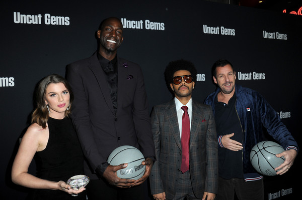 """Los Angeles Premiere of """"Uncut Gems"""" [event,ball,soccer ball,adam sandler,the weeknd,kevin garnett,julia fox,uncut gems,l-r,los angeles,california,premiere]"""