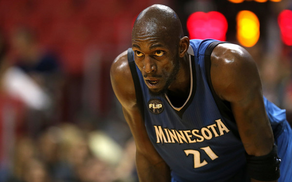 Minnesota Timberwolves v Miami Heat [basketball player,basketball,player,team sport,product,ball game,jersey,basketball moves,forehead,kevin garnett,user,user,note,terms,conditions,miami,minnesota timberwolves,miami heat,game]
