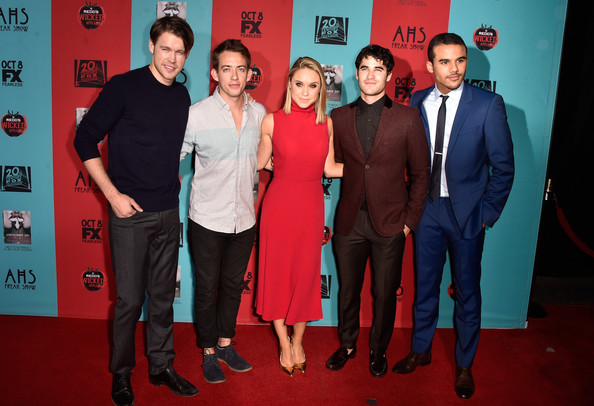 'American Horror Story: Freak Show' Screening [american horror story: freak show,red,event,premiere,red carpet,carpet,flooring,suit,award,arrivals,actors,becca tobin,kevin mchale,darren criss,chord overstreet,jacob artist,l-r,premiere screening of fx]