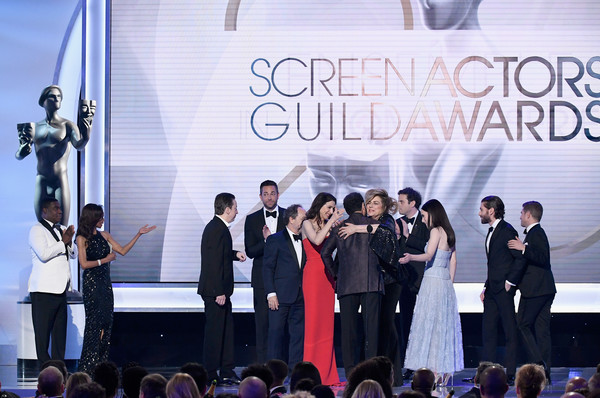 25th Annual Screen ActorsGuild Awards - Show [the marvelous mrs. maisel,event,youth,stage,performance,community,ceremony,company,talent show,team,stage equipment,cast members,screen actors guild awards,award,outstanding performance,the shrine auditorium,los angeles,california,show,ensemble in a comedy series]