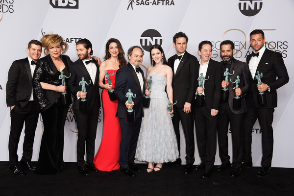 25th Annual Screen Actors Guild Awards - Press Room [comedy series,event,premiere,fashion,formal wear,carpet,team,tuxedo,ensemble,winners,michael zegen,caroline aaron,joel johnstone,screen actors guild awards,l-r,room,screen actors\u00e2 guild awards]