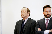 Actor Kevin Spacey (L) attends his arraignment on sexual assault charges with his lawyer Alan Jackson at Nantucket District Court on January 7, 2019 in Nantucket, Massachusetts.