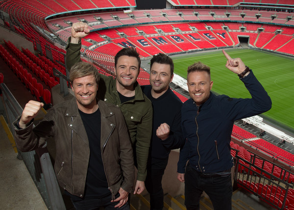 Westlife Wembley Stadium Show Announcement [stadium,sport venue,red,arena,fan,team,photography,nicky byrne,kian egan,mark feehily,shane filan,westlife wembley stadium,england,london,westlife,show announcement,show]