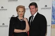 Designer Carolina Herrera (L) and Michael Bruno attend the kick-off dinner for Lighthouse International's POSH Fashion sale at the Oak Room on May 11, 2010 in New York City.