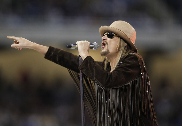 Kid Rock performs during the United Way halftime show during the New England Patriots and the Detroit Lions at Ford Field on November 25, 2010 in Detroit,