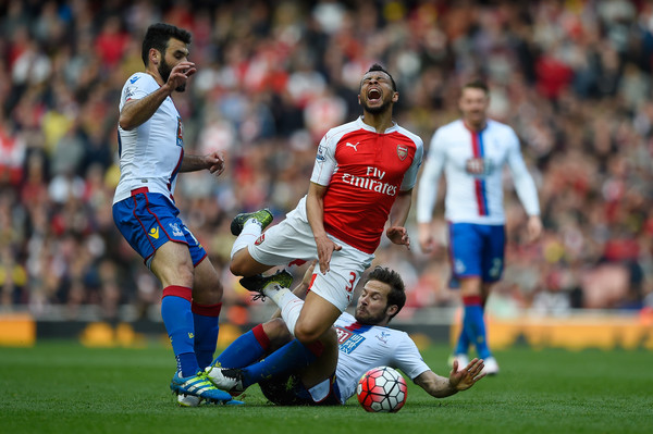 Arsenal v Crystal Palace - Premier League [player,sports,soccer player,football player,soccer,team sport,ball game,football,sport venue,international rules football,francis coquelin,yohan cabaye,crystal palace,england,london,emirates stadium,arsenal,premier league,match]
