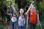 IMAGES AVAILABLE FREE OF CHARGE FOR EDITORIAL USE FOR 48 HOURS FROM CREATE DATE) (STRICTLY EDITORIAL USE ONLY) (L-R) Anita Rani, Leigh-Anne Pinnock and Dan Walker arrive in camp on day 1 of 'Kilimanjaro: The Return' for Red Nose Day on February 23, 2019 in Arusha, Tanzania, all to raise funds for Comic Relief supported projects in the UK and around the world.