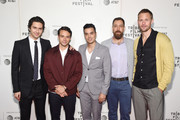 """(L-R) Nat Wolff, Jonathan Whitesell, Brian Marc, Dan Krauss and Alexander Skarsgård attend the """"The Kill Team"""" screening during the 2019 Tribeca Film Festival at BMCC Tribeca PAC on April 27, 2019 in New York City."""