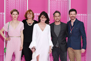"""(L-R)  Katharina Schlothauer, Nina Grosse, Iris Berben,Moritz Bleibtreu and a guest from the serie """"The Typist"""" attend """"Killing Eve"""" and """"When Heroes Fly"""" screening during the 1st Cannes International Series Festival at Palais des Festivals on April 8, 2018 in Cannes, France."""