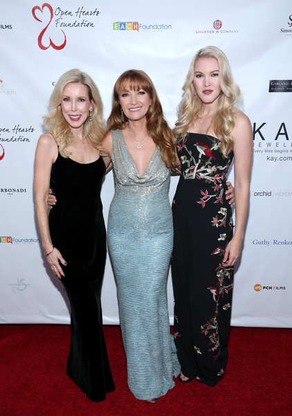 Jane Seymour and the 2017 Open Hearts Gala [jane seymour,kim campbell,ashley campbell,dress,clothing,carpet,red carpet,premiere,flooring,fashion,cocktail dress,gown,event,open hearts gala,beverly hills,california,sls hotel]