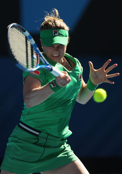 Kim Clijsters Kim Clijsters of Belgium plays a forehand in her semifinal match against Vera Zvonareva of Russia during day eleven of the 2011 Australian Open at Melbourne Park on January 27, 2011 in Melbourne, Australia.