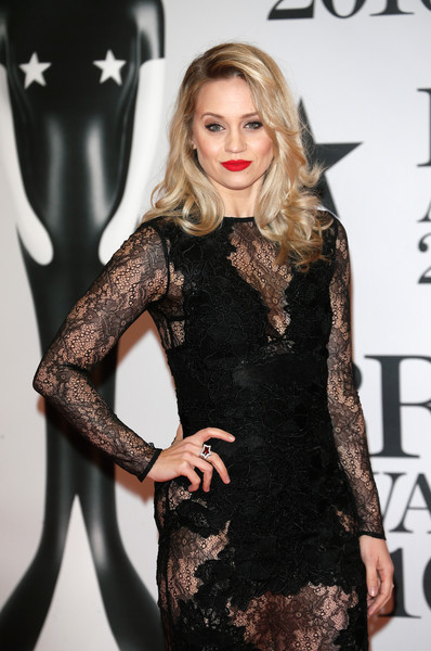Brit Awards 2016 - Red Carpet Arrivals [clothing,dress,fashion model,blond,hairstyle,fashion,little black dress,long hair,cocktail dress,leg,kimberly wyatt,brit awards,the o2 arena,london,england,red carpet arrivals]