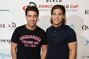 (L-R) Jon Clark and Chris Clark arrive at the launch of the 2016 annual BLOCH Dance World Cup on April 28, 2016 in London, England.