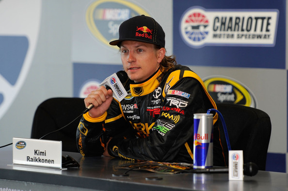 Kimi Raikkonen Kimi Raikkonen, driver of the #15 Perky Jerky Toyota, speaks at a press conference during practice for the NASCAR Camping World Truck Series North Carolina Education Lottery 200 at Charlotte Motor Speedway on May 20, 2011 in Charlotte, North Carolina.
