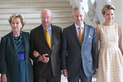 Queen Paola, King Albert II, Prince Philippe and Princess Mathilde of Belgium receive Regional Ministers at Laeken Castle on July 12, 2013 in Brussels, Belgium.