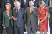 Queen Paola, King Albert, Prince Philippe and Princess Mathilde of Belgium receive members of COMORI at Laeken Castle on July 8, 2013 in Brussels, Belgium.