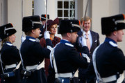 King Willem-Alexander of the Netherlands and Queen Maxima of the Netherlands walk out of the Noordeinde Palace to welcome King Felipe VI of Spain and Queen Letizia of Spain on October 15, 2014 in The Hague, Netherlands. Spain's royal couple are in the Netherlands for a one-day official visit and will meet with Dutch Prime Minister Mark Rutte later today.