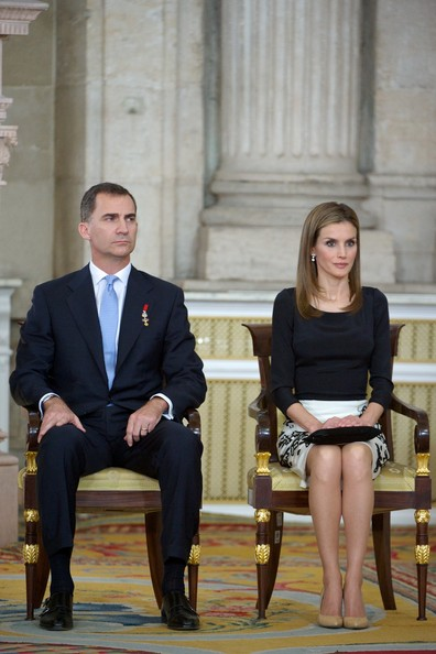 Prince Felipe of Spain and Princess Letizia of Spain attend the official abdication ceremony at the Royal Palace on June 18, 2014 in Madrid, Spain.