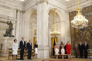 (L-R) Queen Sofia of Spain,  Prince Felipe of Spain,King Juan Carlos of Spain, Princess Letizia of Spain, Infanta Pilar de Borbon, Infanta Margarita of Spain, Princess Leonor of Spain, Princess Sofia of Spain and Princess Elena of Spain attend the official abdication ceremony at the Royal Palace on June 18, 2014 in Madrid, Spain. King Juan Carlos of Spain's abdication takes effect at midnight local time.