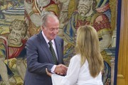 King Juan Carlos of Spain (L) receives Spanish Foreign Minister Trinidad Jimenez (R) at Zarzuela Palace on August 31, 2011 in Madrid, Spain.