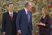 King Juan Carlos of Spain (C), United Nations Secretary General Ban Ki Moon (R) and Spanish Foreign Minister Trinidad Jimenez at Zarzuela Palace on March 18, 2011 in Madrid, Spain.